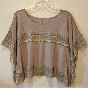 Free People Cream Beige Lace Stripe Cropped Top